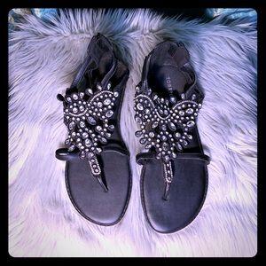 Torrid || Black Bejeweled Zipper Back Thong Sandal